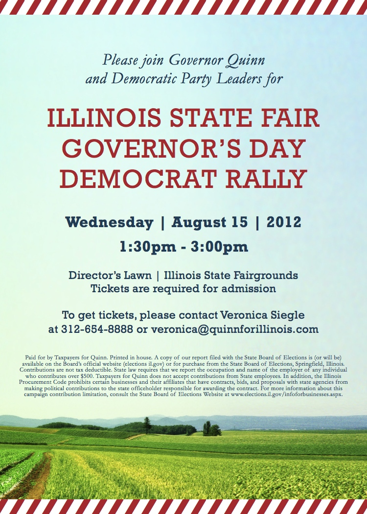 Join Gov. Quinn for a rally at the State Fair 8/15
