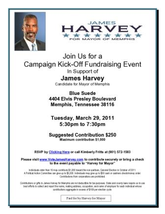 Harvey for Mayor Kickoff Flyer
