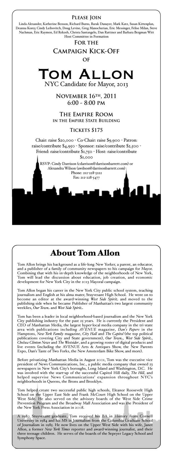 Tom Allons Campaign Kick-Off Invitation